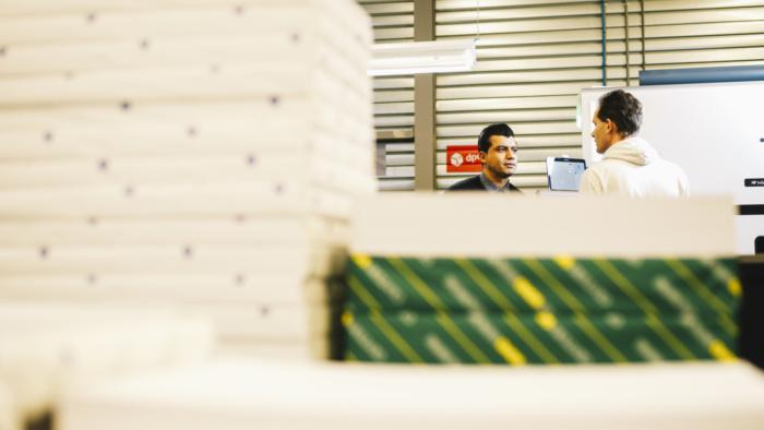 Papiervoorraad in de drukkerij